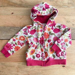 GYMBOREE Pink floral hooded zip up sweater with cinched waist 3-4Y